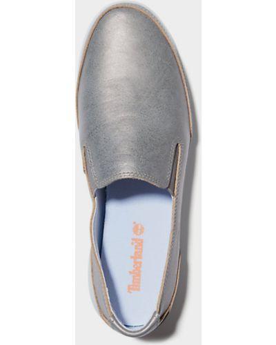 Без шнуровки серебряные кожаные слипоны Timberland
