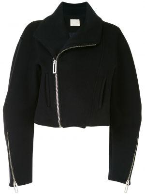 Черная короткая куртка байкерская на молнии Dion Lee