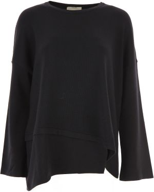 Czarna bluza z długimi rękawami asymetryczna Fuzzi