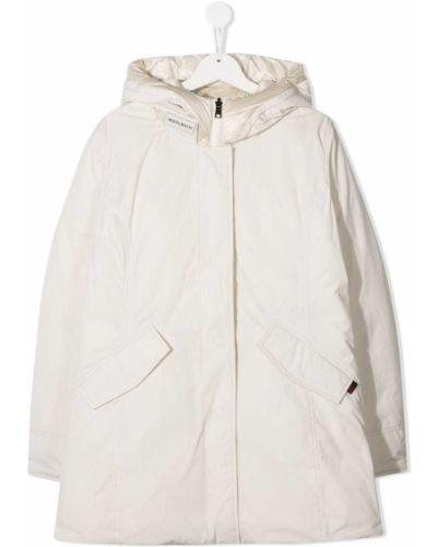 Классическое пуховое прямое белое длинное пальто Woolrich Kids