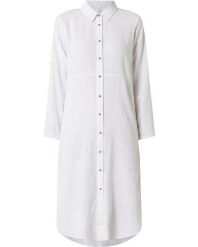 Biała sukienka koszulowa rozkloszowana z długimi rękawami Soyaconcept