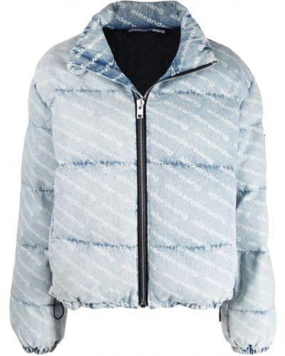 Niebieska długa kurtka pikowana bawełniana Alexander Wang
