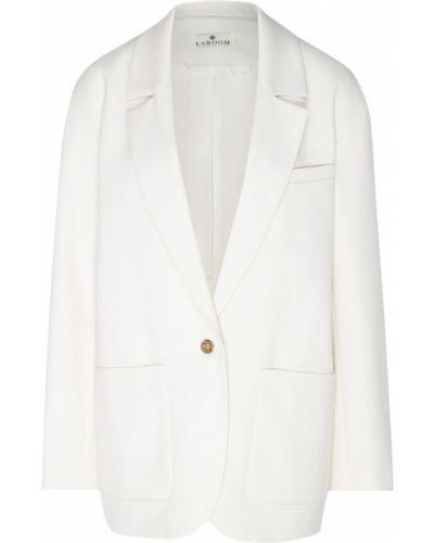 Бежевый прямой свободные пиджак из вискозы Laroom
