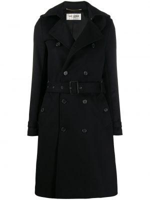 Черное кашемировое длинное пальто двубортное Saint Laurent
