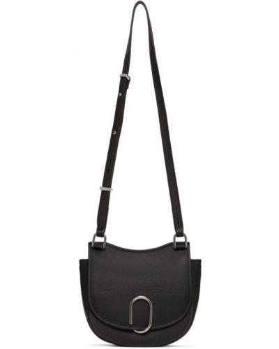 Czarny torba kosmetyczna prążkowany z prawdziwej skóry z łatami 3.1 Phillip Lim