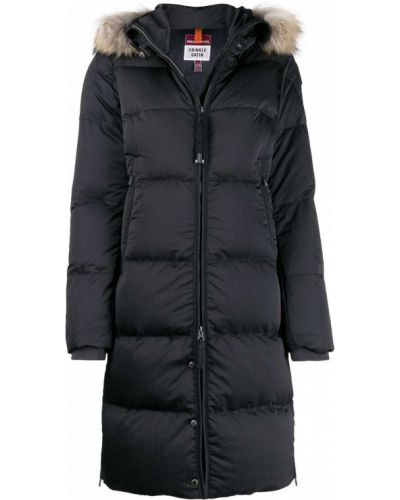 Черное пуховое длинное пальто с капюшоном Parajumpers