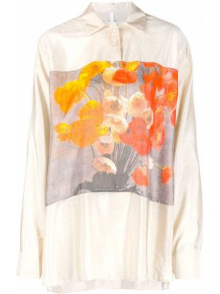Прямая сатиновая классическая рубашка с воротником на пуговицах Soulland