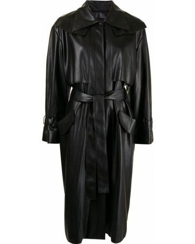 Черное пальто на плоской подошве Low Classic