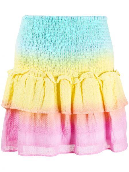 Плиссированная хлопковая приталенная синяя юбка мини Cecilie Copenhagen