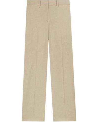 Прямые шерстяные бежевые брюки Maje