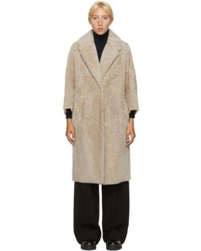 Бежевое длинное пальто с воротником с накладными карманами 's Max Mara