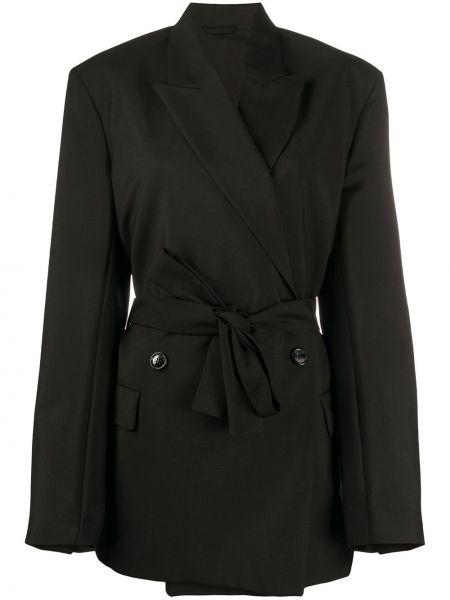 Черный удлиненный пиджак двубортный с поясом Acne Studios