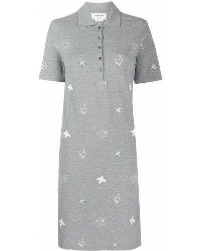 Klasyczna sukienka mini krótki rękaw z wiskozy Thom Browne