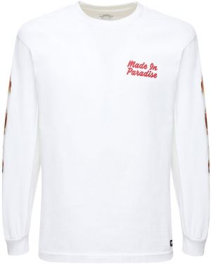 Biały t-shirt z długimi rękawami bawełniany 1800-paradise