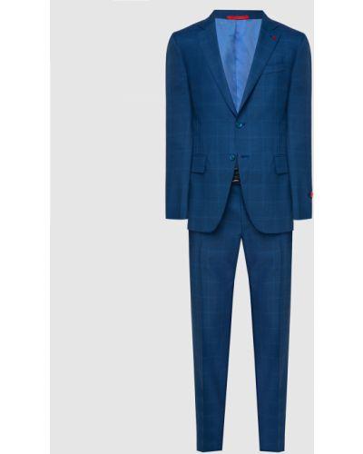 Костюмный шелковый синий костюм Isaia