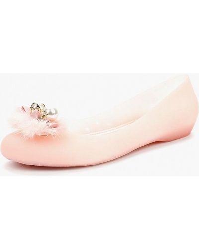 Розовые балетки с открытым носком King Boots