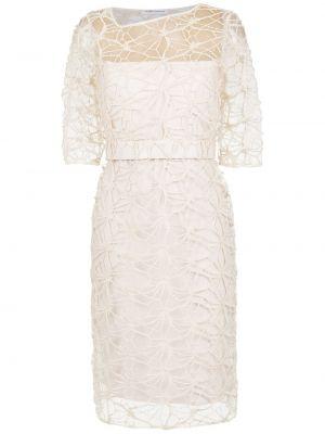 Кружевное белое асимметричное платье с декольте Gloria Coelho