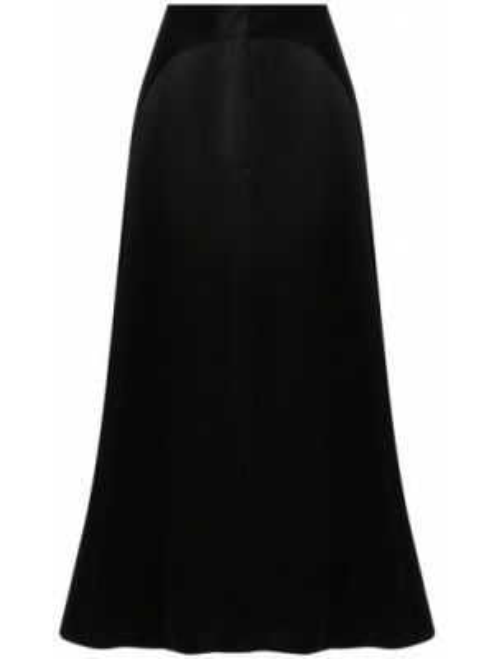 Сатиновая черная юбка миди в рубчик Giorgio Armani