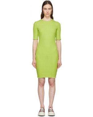 Sukienka mini z kołnierzem zielona Simon Miller