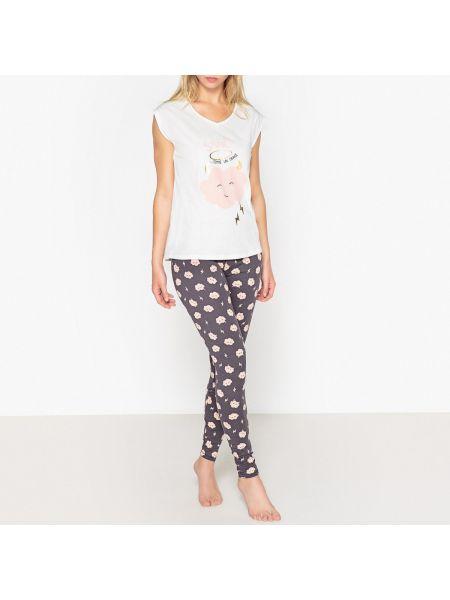 Пижама с брюками с надписью с короткими рукавами La Redoute Collections
