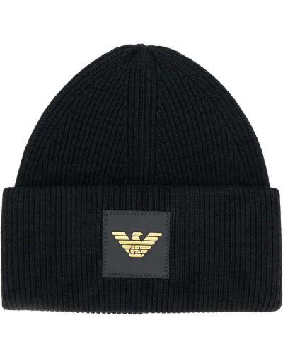 Кашемировая черная шапка бини с отворотом Emporio Armani
