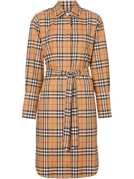 Классическое платье на пуговицах с воротником из габардина Burberry