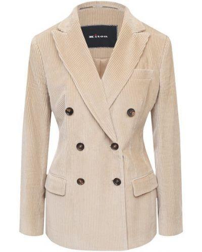 Бежевый шелковый пиджак с подкладкой двубортный Kiton