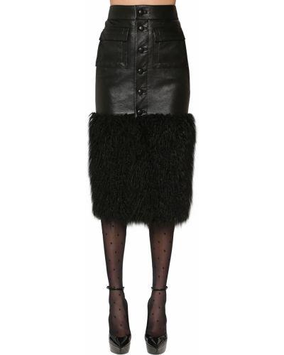 Кожаная юбка с карманами на пуговицах Saint Laurent