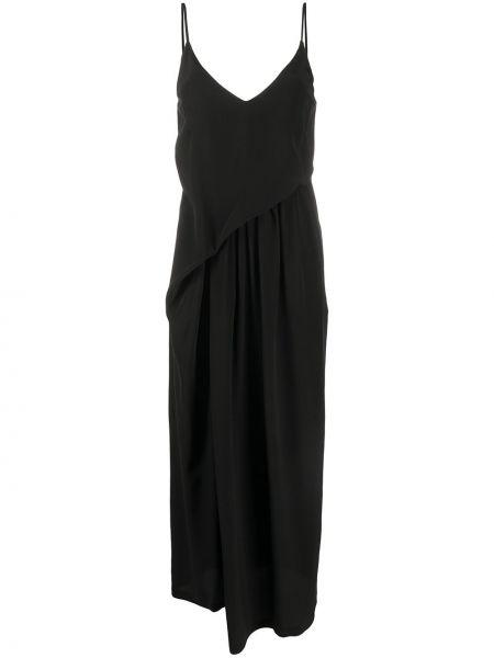 Sukienka midi z jedwabiu czarny Christian Wijnants