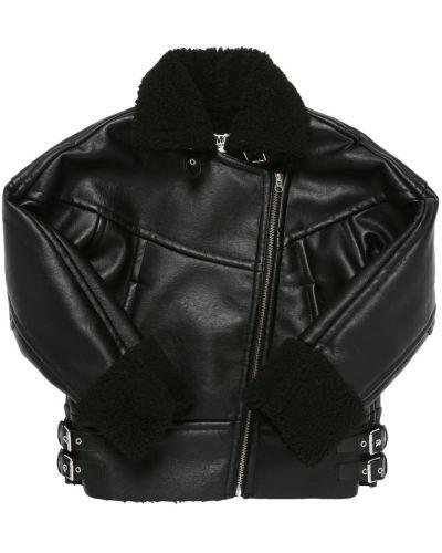 Кожаная куртка с мехом - черная Mm6 Maison Margiela
