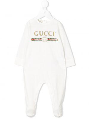 Biała piżama bawełniana z długimi rękawami Gucci Kids