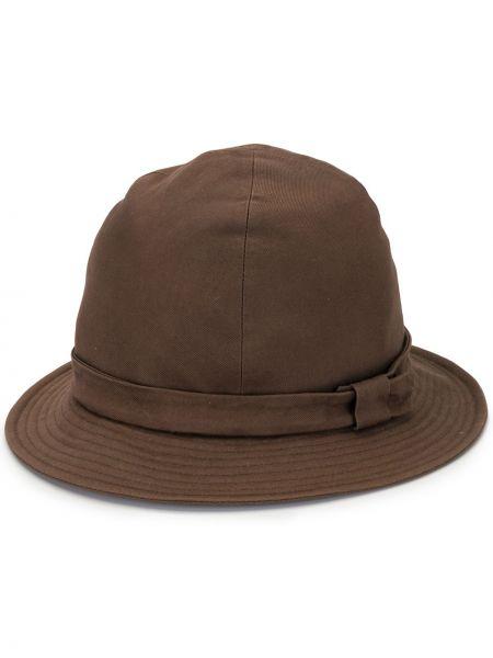 Хлопковая коричневая шляпа Yohji Yamamoto Pre-owned