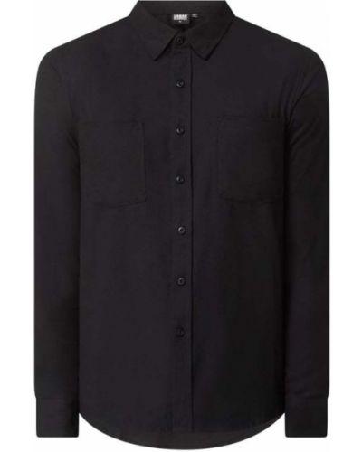 Czarna flanelowa koszula slim z długimi rękawami Urban Classics