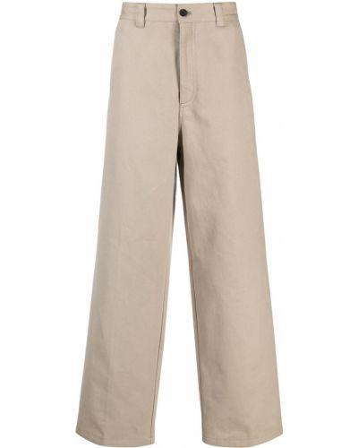 Beżowe spodnie z wysokim stanem bawełniane Acne Studios
