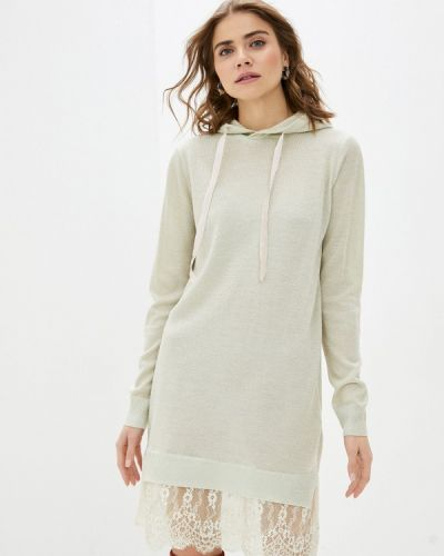 Бежевое трикотажное вязаное платье Sh