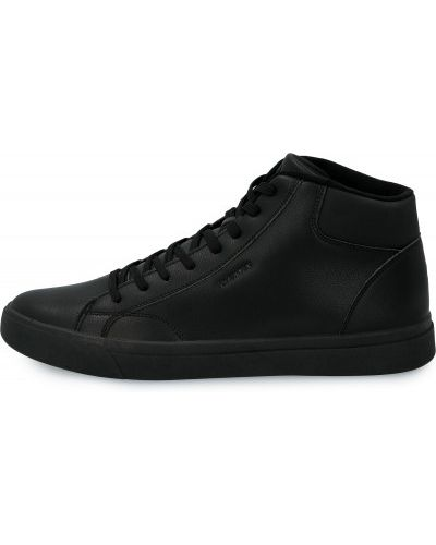 Кожаные черные высокие кеды на шнуровке Demix