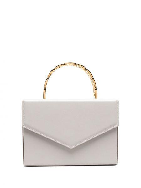 Золотистая кожаная серая маленькая сумка Amina Muaddi