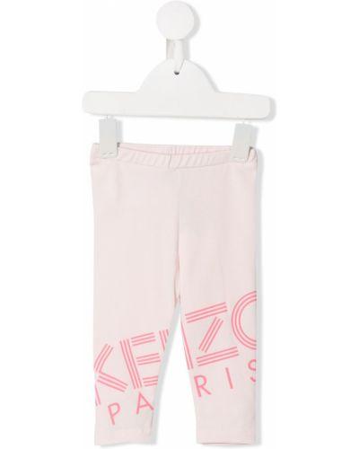 Różowe legginsy bawełniane z printem Kenzo Kids