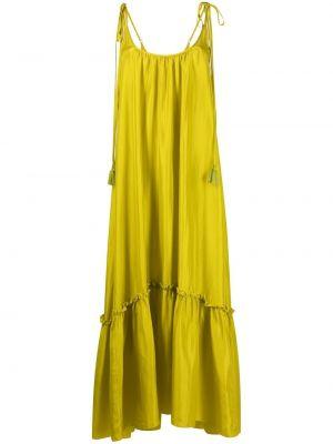 Шелковое зеленое платье макси трапеция P.a.r.o.s.h.