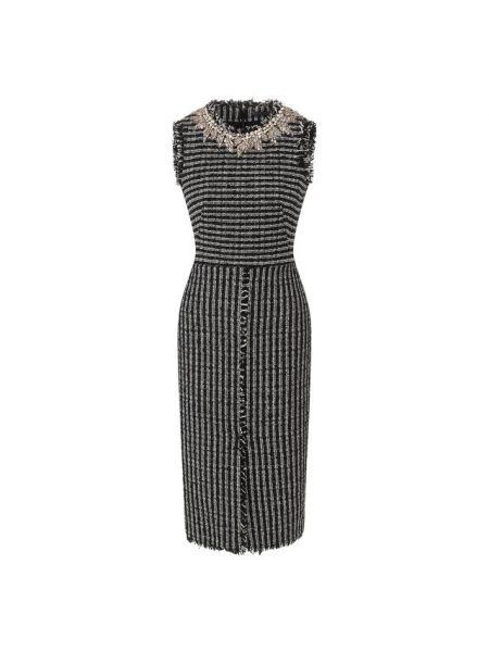 Платье миди с бахромой из вискозы Alexander Mcqueen
