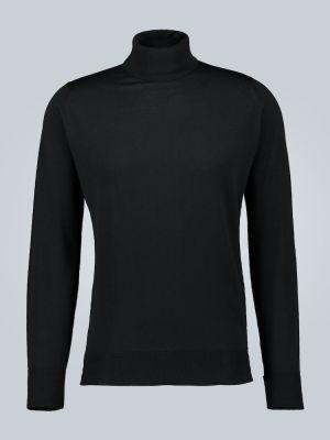 Вязаный шерстяной черный классический свитер John Smedley