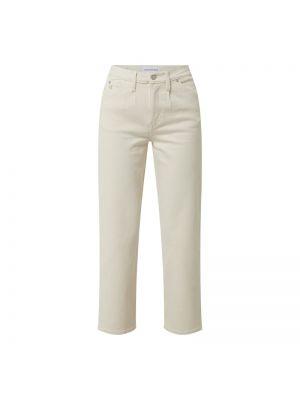 Białe jeansy z wysokim stanem bawełniane Calvin Klein Jeans