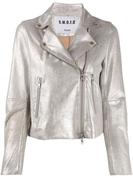 Облегающая серебряная куртка с манжетами на молнии S.w.o.r.d 6.6.44