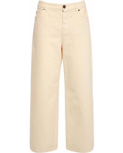 Укороченные джинсовые бежевые джинсы с карманами Weekend Max Mara