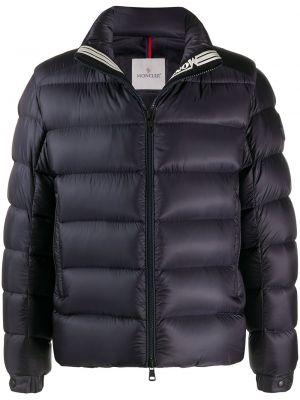 Puchaty niebieski długa kurtka z mankietami z kieszeniami Moncler