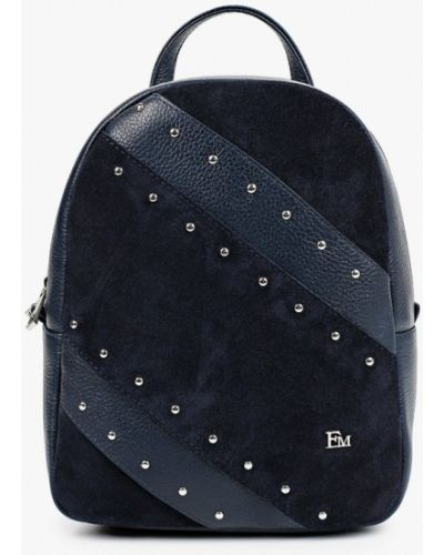 Синий городской рюкзак из натуральной кожи Franchesco Mariscotti