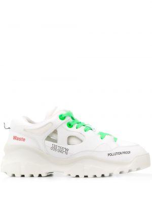 Białe sneakersy skorzane sznurowane F_wd