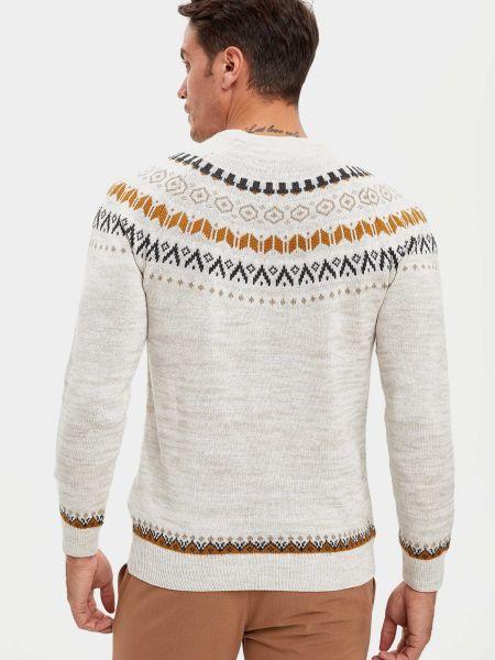 Белый свитер с вырезом круглый Defacto