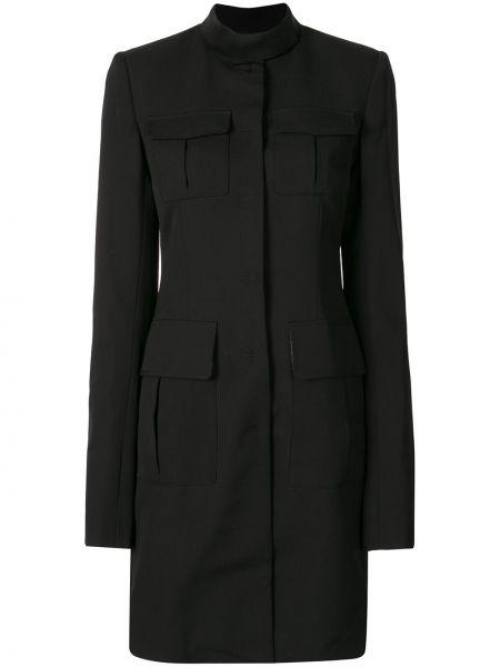 Шерстяное черное длинное пальто с капюшоном Vera Wang