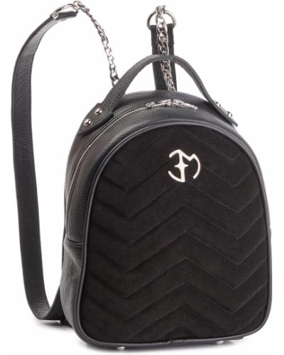Skórzany plecak zamsz czarny Eva Minge